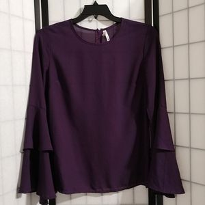 New Truth NYC Amythest Top with Bell Sleeves sz M